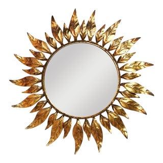 Vintage French Sunburst Golden Metal Mirror 1960-1969 For Sale