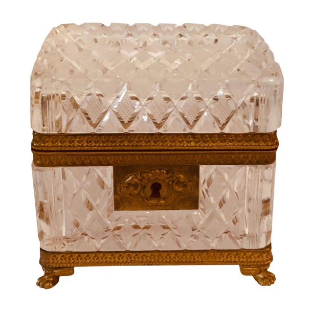 Transparent Antique Baccarat Crystal Box For Sale - Image 8 of 8