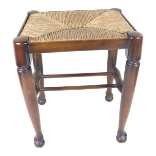 Late 19th Century English Rush Seated Stool For Sale