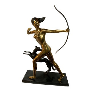 Brass & Bronze Diana Goddess of the Hunt For Sale