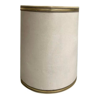 Mid-Century Linen Drum Shade With Gold Trim For Sale