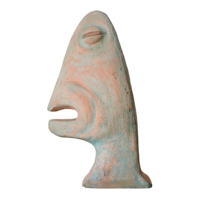 Vintage Mid-Century Modernist Primitive Man Bust Sculpture For Sale