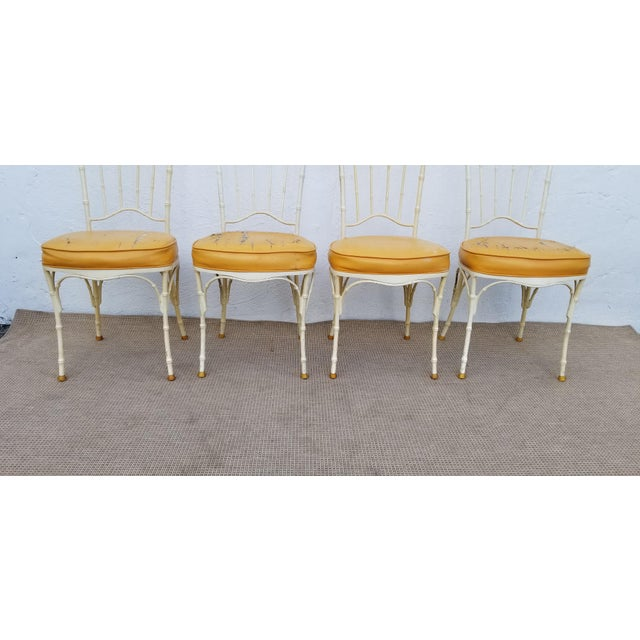 1960s Vintage Brown Jordan Style Faux Bamboo Aluminum Outdoor Dining- Set of 5 For Sale - Image 9 of 13