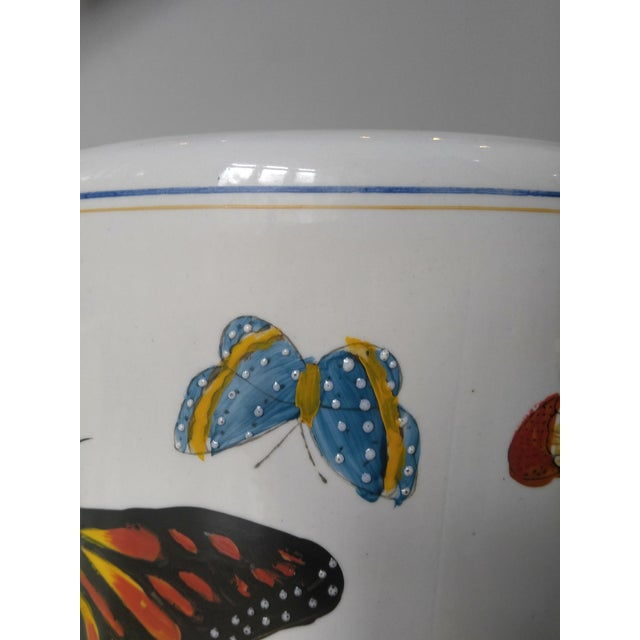 Butterfly Handpainted Ceramic Umbrella Stand For Sale - Image 5 of 9