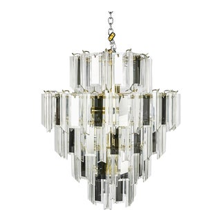 Vintage Italian Waterfall Chandelier With Lucite and Mirrored Prisms For Sale