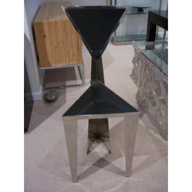 1970s 1970s Chic Stainless Steel Triangle Geometric Chair For Sale - Image 5 of 6