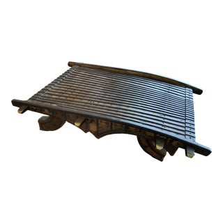 Antique Indian Rustic Wooded Ox Cart Coffee Table For Sale