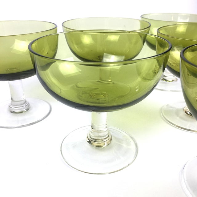 Vintage Green Coupe Cocktail Glasses – Set of 6 For Sale - Image 4 of 10