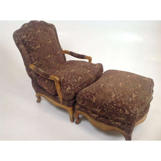 Baker Country French Lounge Chair & Ottoman - Image 4 of 8
