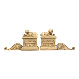 Pair of Early 19c Empire Gilt-Bronze Chenets For Sale