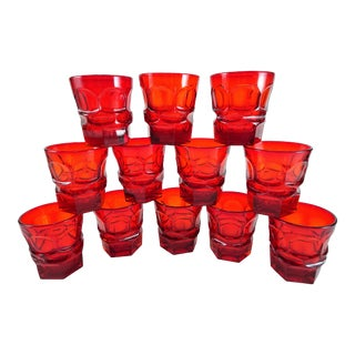Vintage Fostoria Ruby Red Tumbler Glass - Set of 12 For Sale
