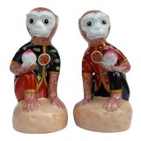 Image of Vintage Porcelain Ceramic Hand Painted Chinoiserie Monkeys With Kimonos - a Pair For Sale