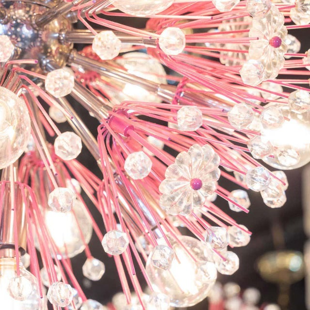 Pink Midcentury Modern Glass, Chrome and Fuschia Enamel Chandelier by Rupert Nikoll For Sale - Image 8 of 12