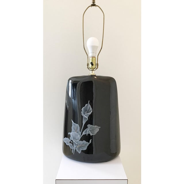 1980s Large Art Deco Black Floral Ceramic Table Lamp For Sale In Chicago - Image 6 of 6