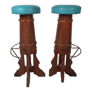 Pair of Midcentury Barrel Frame Bar Stools For Sale