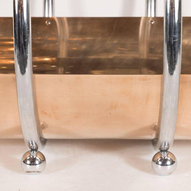 American Art Deco Machine Age Log Holder in Chrome and Copper by Leslie Beaton For Sale - Image 10 of 11