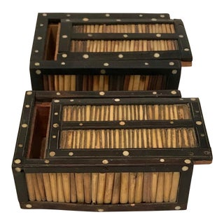 Late 19th Century Antique Porcupine Quill Boxes - A Pair For Sale