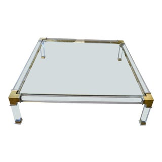 Early Charles Hollis Jones Hollywood Regency Acrylic Bronze & Chrome Glass Table For Sale