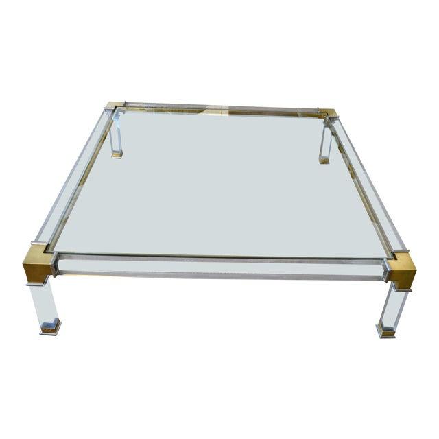Early Charles Hollis Jones Hollywood Regency Acrylic Bronze & Chrome Glass Table For Sale