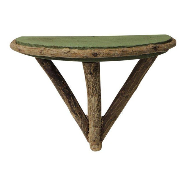 Green Rustic Willow Painted Green Garden Artisanal Wall Shelf/Bracket For Sale - Image 8 of 8