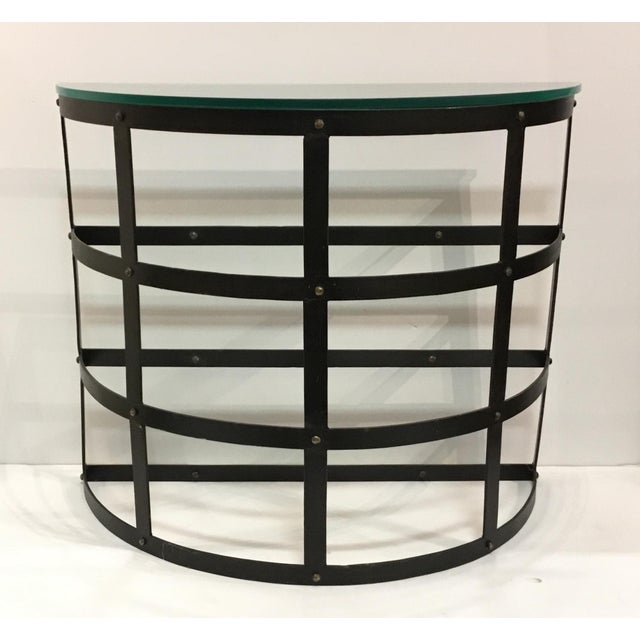 2010s Arteriors Modern Metal and Glass Blackwell Console Table/Demi-Lune For Sale - Image 5 of 5