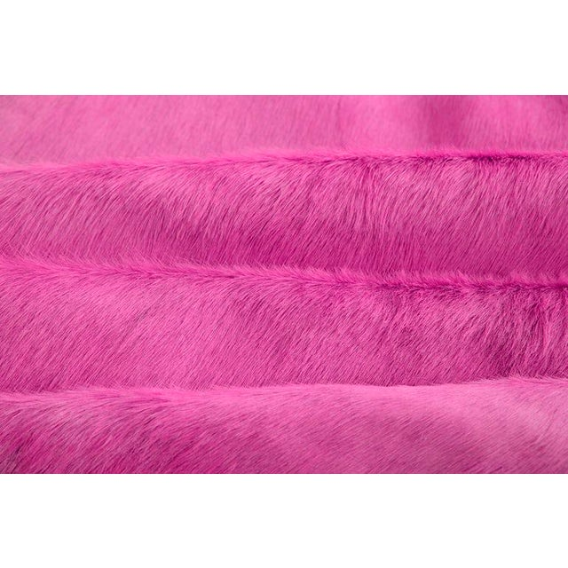 Fuchsia Cow Hide Rug: All of our Hair Cow Hides are full hides and measure between 7 x 8 feet. They are of the highest...