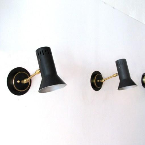 Gold Italian Black Wall Lamps c. 1950s - A Pair For Sale - Image 8 of 10