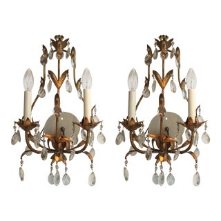 French Traditional Gilded Chandelier Sconces - a Pair