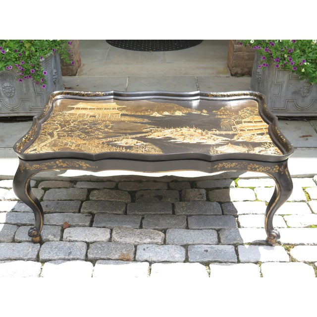 Brown Vintage Chinoiserie Decorated Large Coffee Table For Sale - Image 8 of 8
