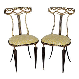 Vintage Italian Palladio & Mariano Fortuny Fabric Chairs - Pair