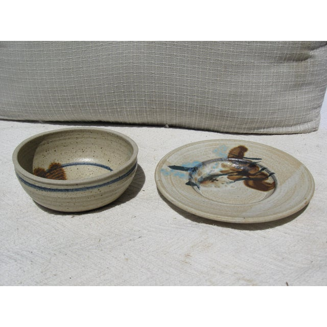 Pottery Bowl & Plate Serving Set - Image 3 of 5