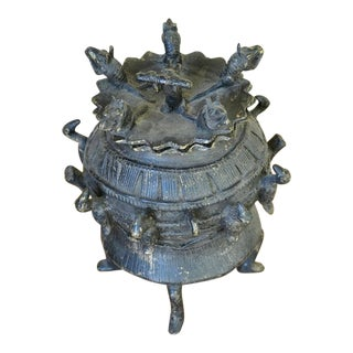 Antique Ashanti Patinated Bronze Kuduo Lidded Vessel With Figural Decorations For Sale