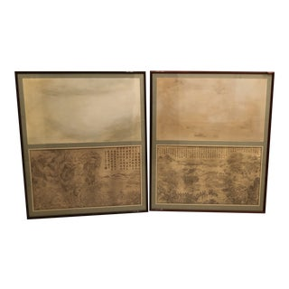 Vintage Mid-Century Framed Chinese Prints - A Pair For Sale