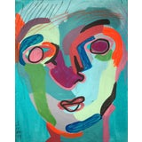 """Image of Contemporary Abstract Portrait Painting """"Kooky Awesome"""" - Framed For Sale"""