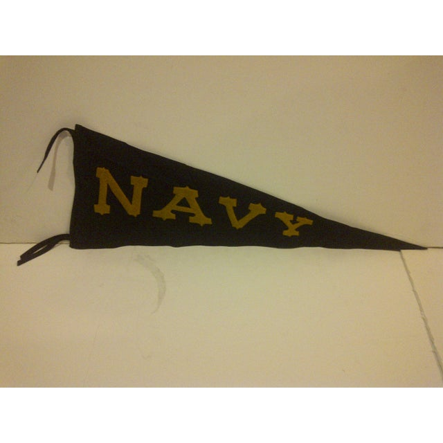 Americana Vintage United States Naval Academy Pennant Circa 1940 For Sale - Image 3 of 7