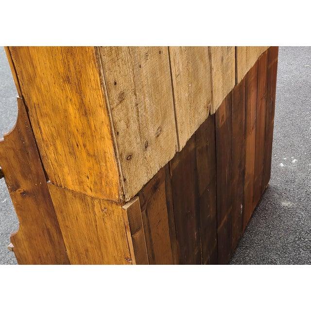 Antique 19th Century Irish Pine 2 Part Chicken Coop Cupboard Cabinet Hutch For Sale - Image 12 of 13