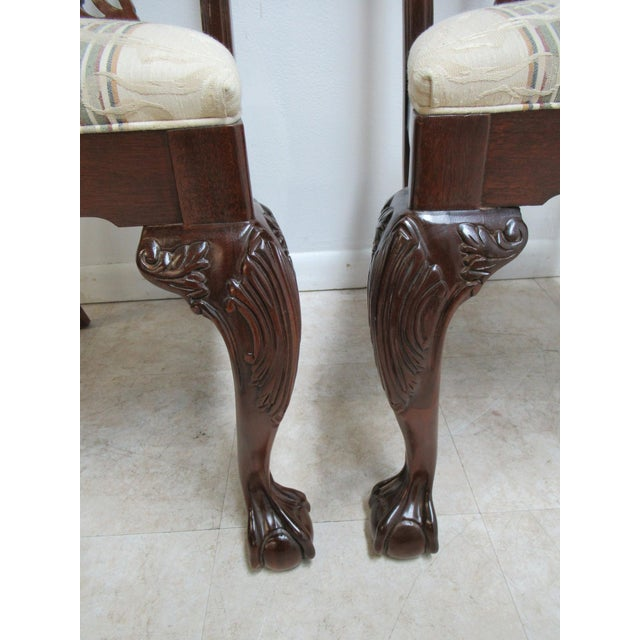 Mahogany Modern Ethan Allen 18th Century Style Mahogany Chippendale Dining Room Side Chairs- A Pair For Sale - Image 7 of 12