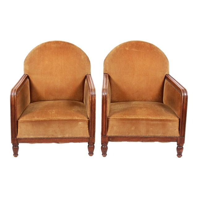1940s Art Deco-Style Club Chairs Pair For Sale