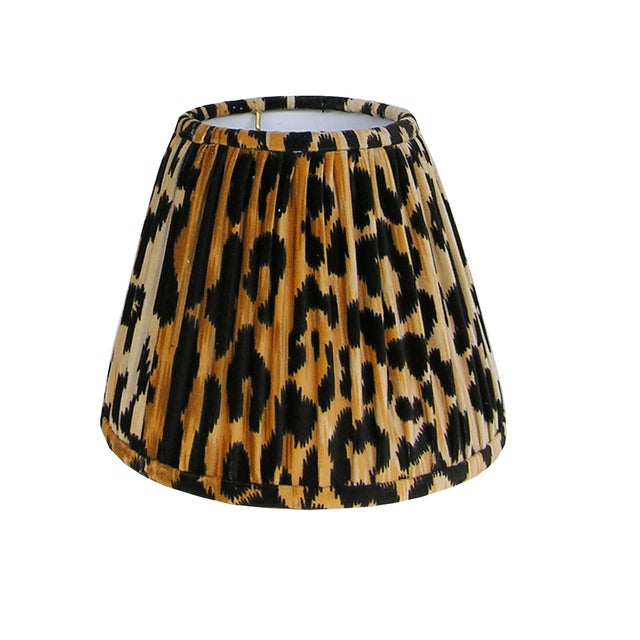 Not Yet Made - Made To Order Gathered Leopard Velvet Lamp Shade For Sale - Image 5 of 5