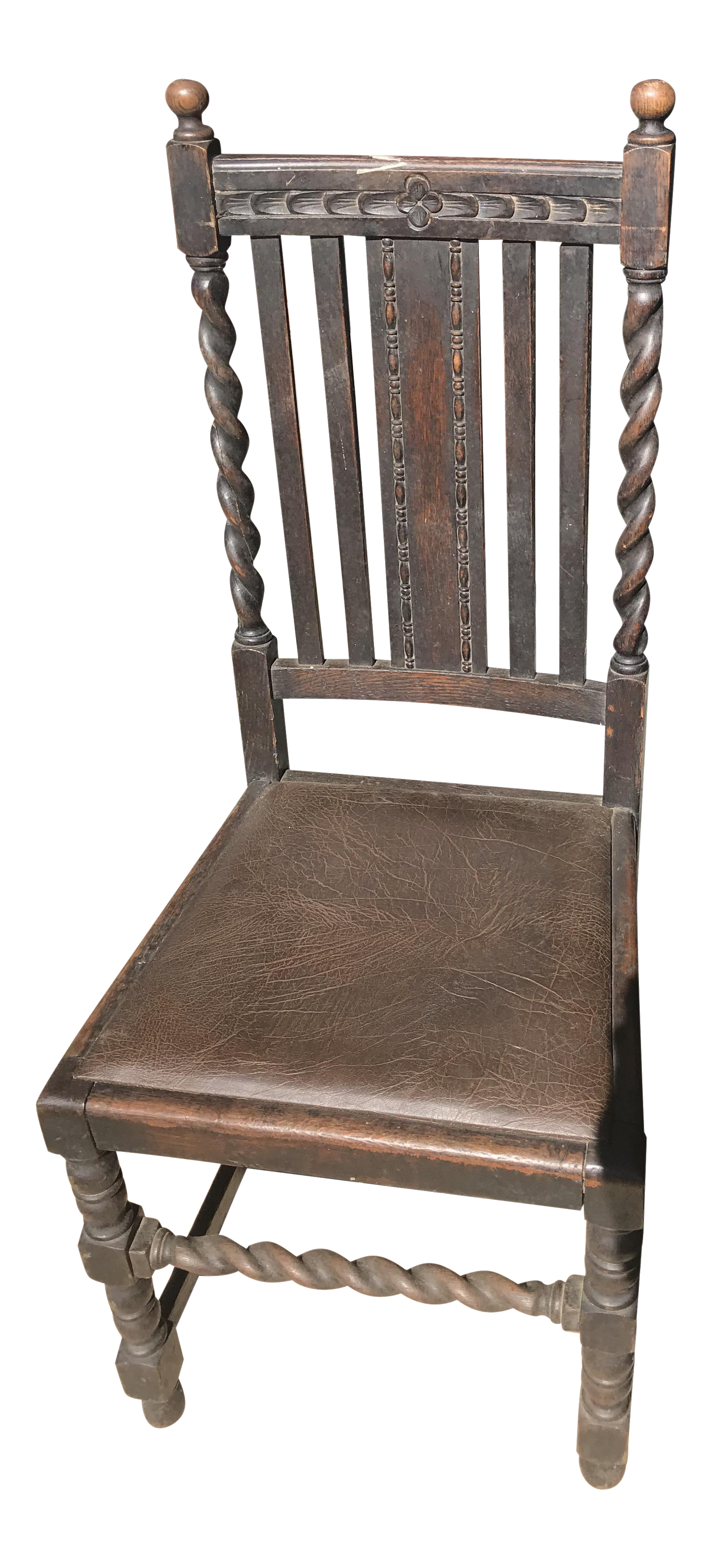 Antique Victorian Era Carved Chair With Leather Seat