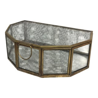 Brass and Glass Half Hexagon Terrarium