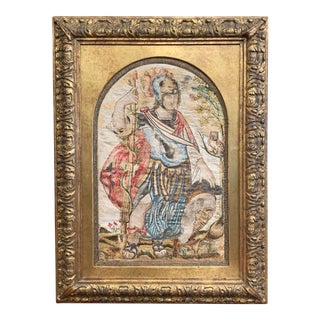 """Midcentury Italian """"Alexander the Great"""" Tapestry in Carved Gilt Frame For Sale"""