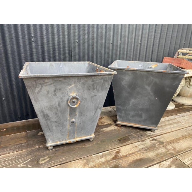 Gray Steel Planters - a Pair For Sale - Image 8 of 8