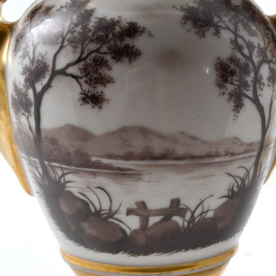 Black 19th Century Antique French Porcelain Vases-a Pair For Sale - Image 8 of 13