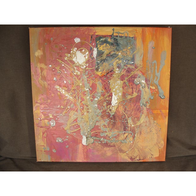 Metallic Colored Abstract Acrylic Painting - Image 5 of 5