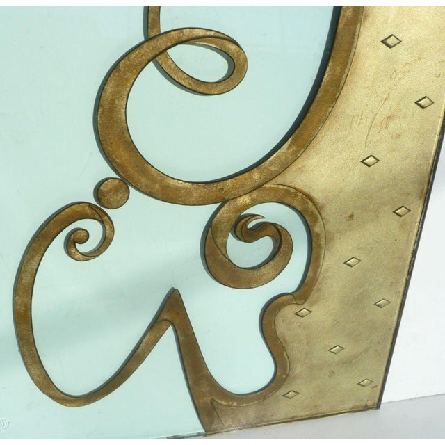 Phenomenal Architectural Etched and Gilded Glass Panels For Sale - Image 10 of 11