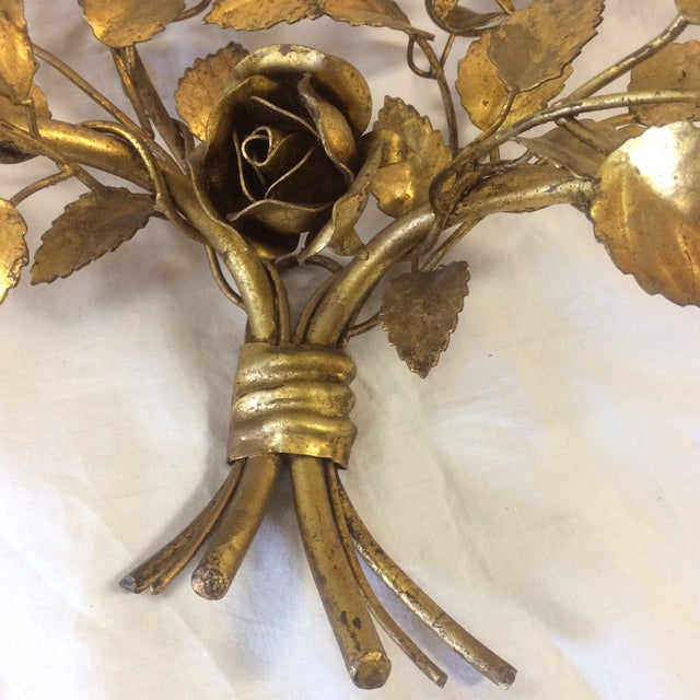 Vintage Gilded Metal Tole Candle Sconces - a Pair For Sale - Image 9 of 11