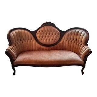 Vintage Victorian Pink Tufted-Back Sofa With Wood Carvings