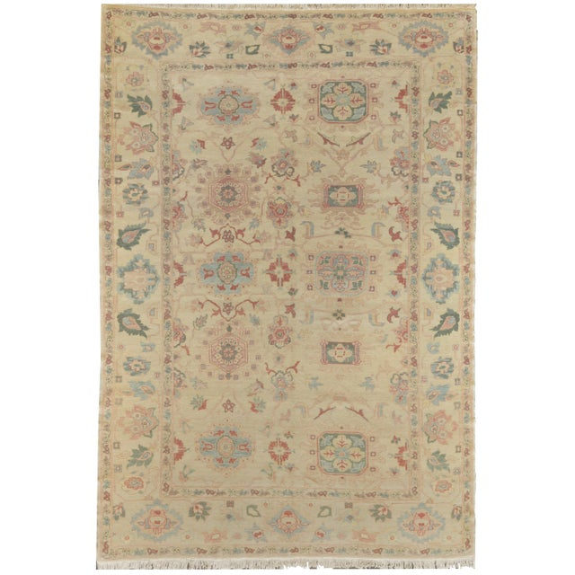Genuine handwoven Sultanabad from Egypt. This decorative rug features updated colors and large scale all over patterns....