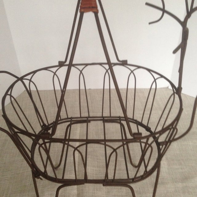 Large Vintage Metal Deer Planter/Basket For Sale - Image 10 of 11